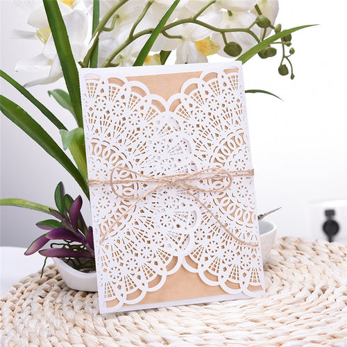 Gorgeous White 4 In 1 Wedding Invitation Cards With Hemp Ropes (Qty 20)