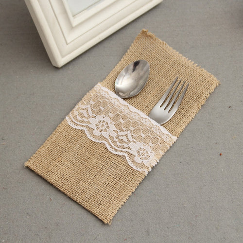 1 piece Pouch Hessian Cutlery Holder