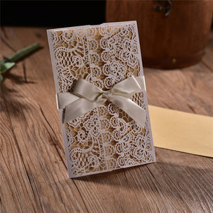 Beautiful Vintage Wedding Invitation Card With Ribbon (Qty 20)