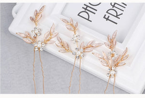 Vintage Gold Leaf Hair Vine Pins or Bridal Headband