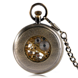 Vintage Hollow Flower Skeleton Mechanical Pocket Watch