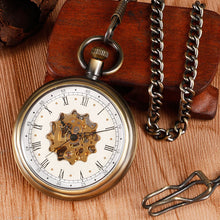 Load image into Gallery viewer, Vintage Hollow Flower Skeleton Mechanical Pocket Watch