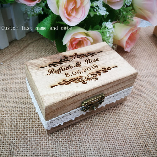 Personlised Engraveden Wood Wedding Ring Box