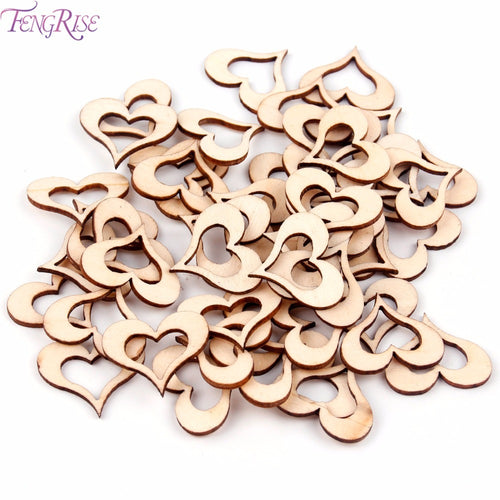 50pcs Laser Cut Wooden Love Heart
