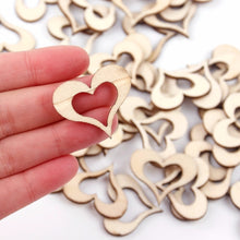 Load image into Gallery viewer, 50pcs Laser Cut Wooden Love Heart