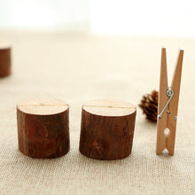 Load image into Gallery viewer, Wooden Stump Shape Wedding Place Card Holder