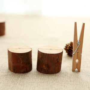 Wooden Stump Shape Wedding Place Card Holder