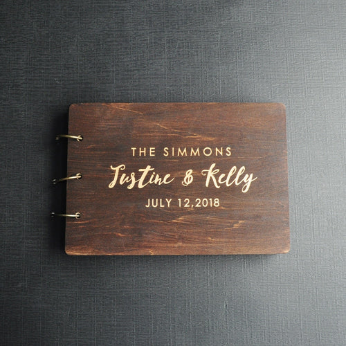 Personalised Rustic Engraved Wooden Wedding Guest Book