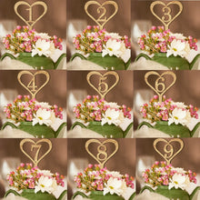 Load image into Gallery viewer, 1-10 Wooden Heart Shaped Wedding Table Numbers