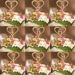 1-10 Wooden Heart Shaped Wedding Table Numbers