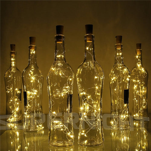 2M 20-LED Copper Wire String Light with Bottle Stopper