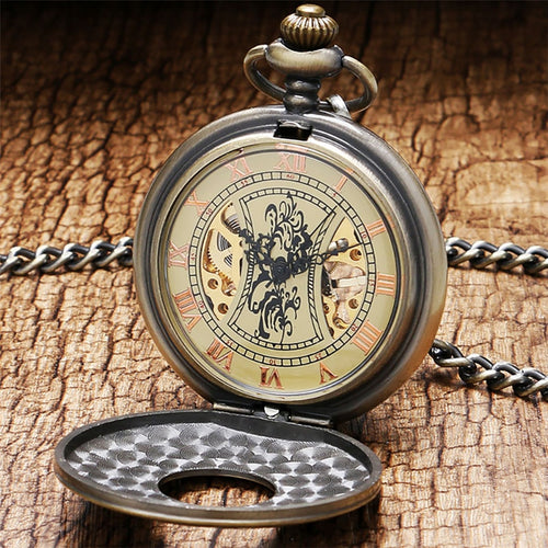 Bronze Copper Mechanical Pocket Watch