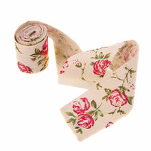 Load image into Gallery viewer, 300CM Vintage Rose Floral Print Burlap Ribbon