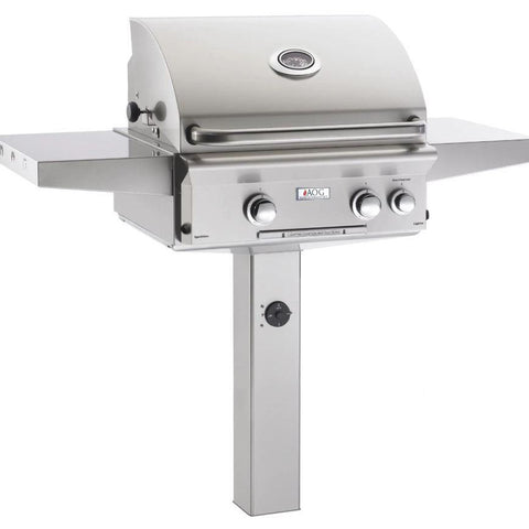 "Fire Magic T Series 24"" 2 Burner In-Ground Post Natural Gas Grill with Rotisserie Complete Set - 24NGT"