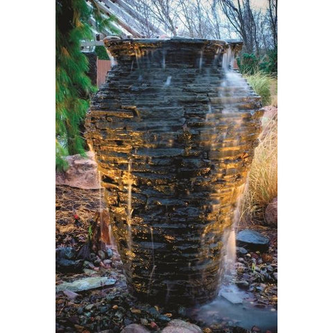 Image of Aquascape Medium Stacked Slate Urn Landscape Fountain Kit 58090