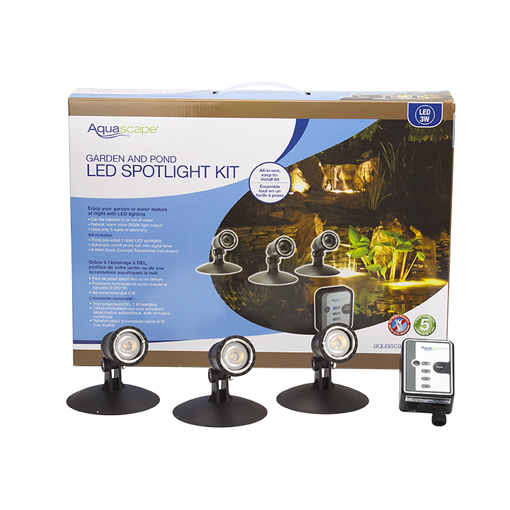 Aquascape Pond and Landscape Light Kit - (LED) - 3 Light Kit with Transformer 84030