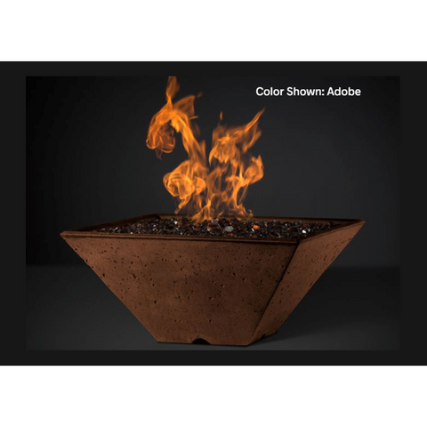 "Slick Rock Concrete 34"" Ridgeline Square Fire Bowl with Match-Lit Ignition KRL34SMLP"
