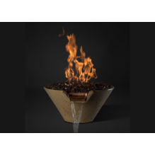 "Image of Slick Rock Concrete 29"" Cascade Conical Fire On Glass + Stainless Steel Spillway with Electronic Ignition KCC29CPSCSSEING"