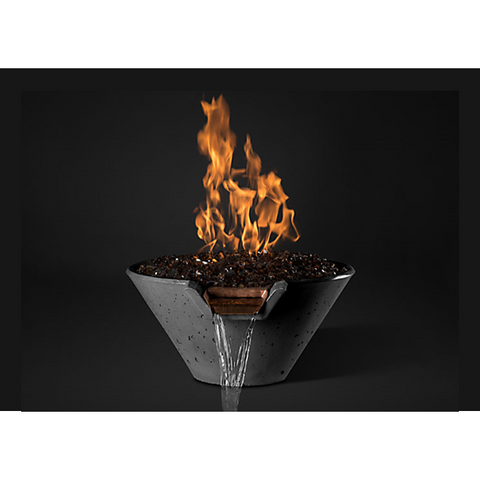 "Slick Rock Concrete 29"" Cascade Conical Fire On Glass + Copper Spillway with Electronic Ignition KCC29CPSCCEILP"