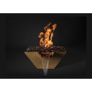 "Slick Rock Concrete 29"" Cascade Square Fire On Glass + Copper Spillway with Electronic Ignition KCC29SPSCCEING"
