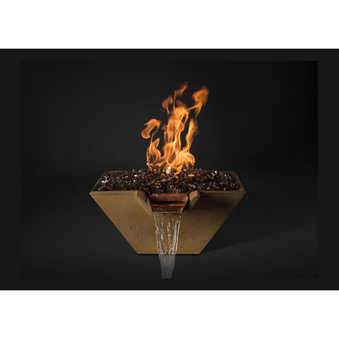 "Image of Slick Rock Concrete 22"" Cascade Square Fire On Glass + Copper Spillway with Match Ignition KCC22SPSCCMLP"