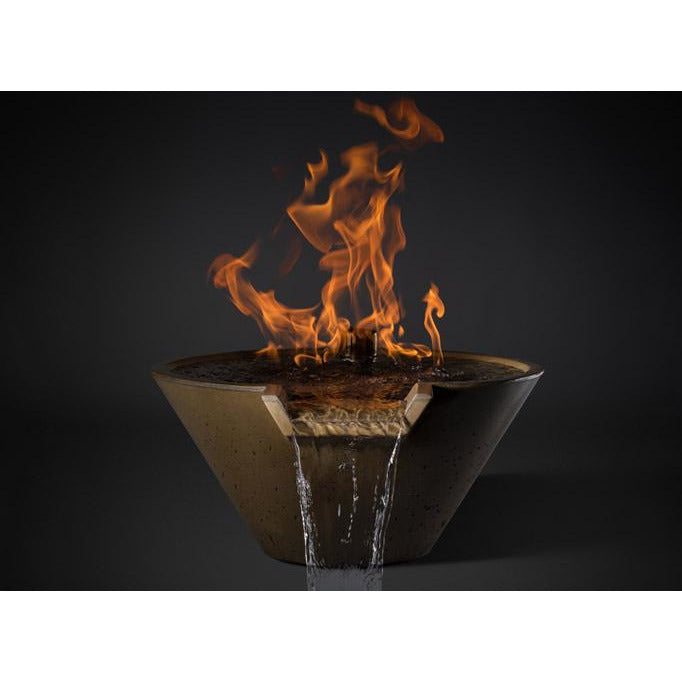 "Slick Rock Concrete 22"" Cascade Conical Fire On Water + Copper Spillway with Electronic Ignition KCC22CSPCEING"