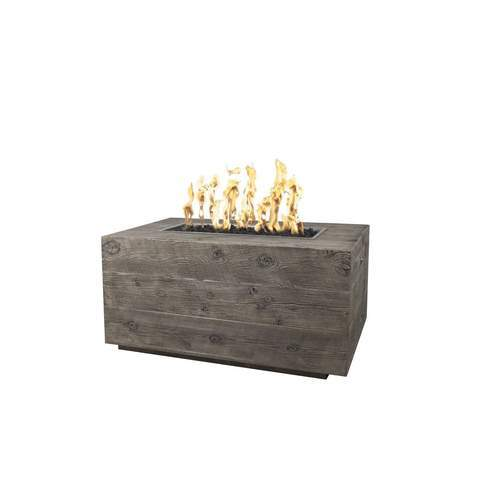 "Image of The Outdoor Plus Catalina Wood Grain Fire Pit - 120"" - Electronic Ignition OPT-CTL120EKIT"