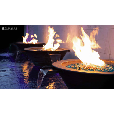 "Image of The Outdoor Plus Cazo 4-Way Water & Fire Bowl - Electronic Ignition  - 36"" - OPT-4W36E12V"