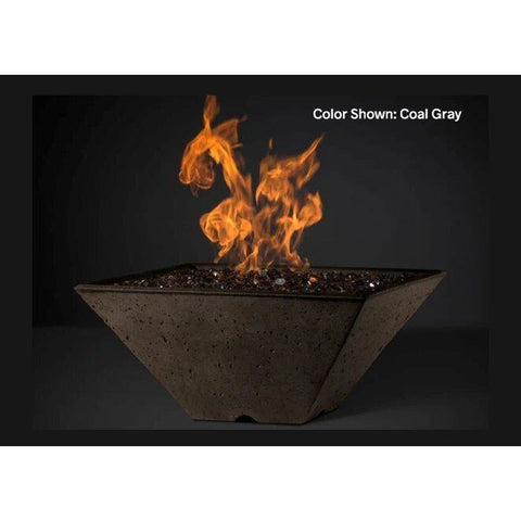 "Slick Rock Concrete 34"" Ridgeline Square Fire Bowl with Media Pan KRL34SBM"