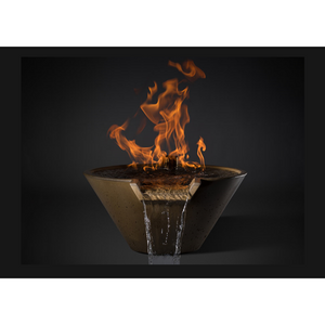 "Slick Rock Concrete 34"" Cascade Conical Fire On Water + Copper Spillway with Electronic Ignition KCC34CSPCEILP"