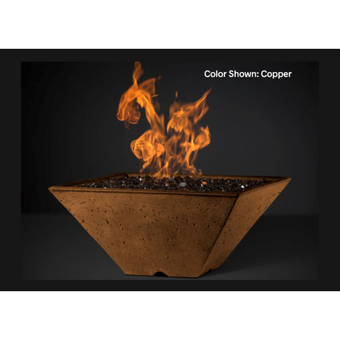 "Slick Rock Concrete 34"" Ridgeline Square Fire Bowl with Match Ignition KRL34SMNG"