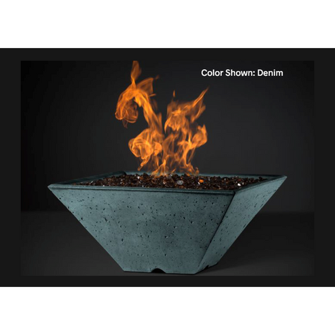 "Slick Rock Concrete 34"" Ridgeline Square Fire Bowl with Match-Lit Ignition KRL34SMNG"