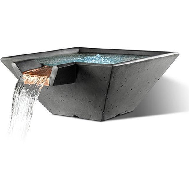"Slick Rock Concrete 34"" Cascade Square Bowl + Copper Spillway KCC34SSPC"
