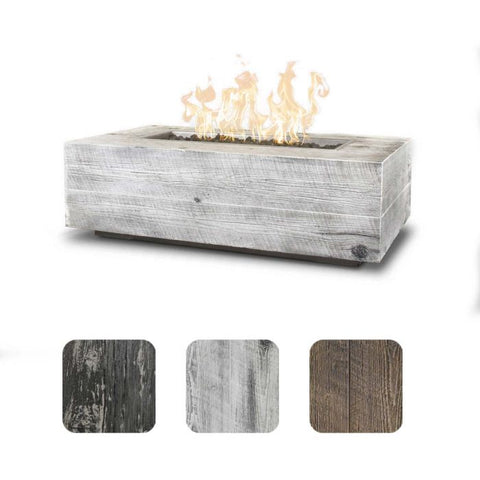 "Image of The Outdoor Plus Coronado Wood Grain Fire Pit - 84"" - Electronic Ignition OPT-COR84EKIT"