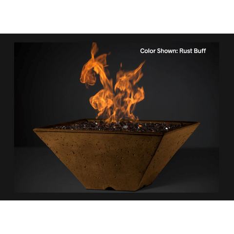 "Slick Rock Concrete 22"" Ridgeline Square Fire Bowl with Match-Lit Ignition Burner KRL22SMLP"