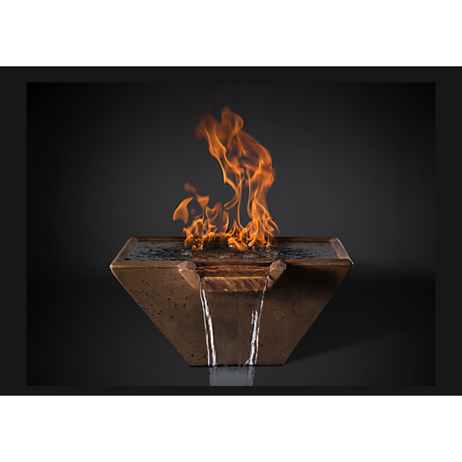 "Slick Rock Concrete 22"" Cascade Square Fire On Water + Stainless Steel Spillway with Electronic Ignition KCC22SSPSSEING"