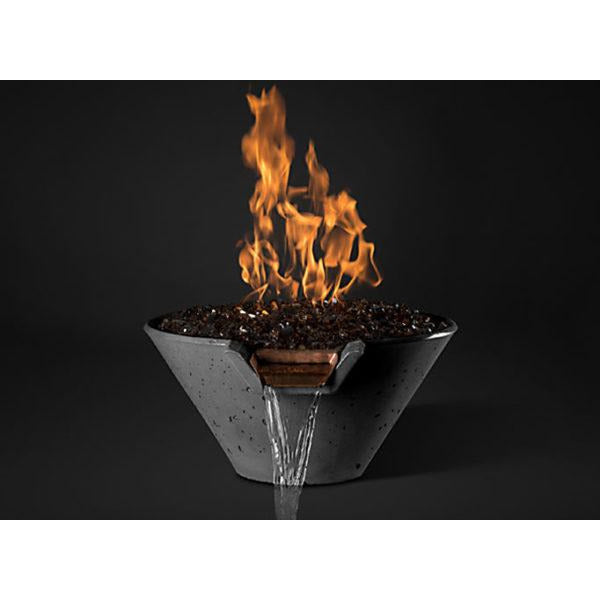 "Slick Rock Concrete 22"" Cascade Conical Fire On Glass + Stainless Steel Spillway with Electronic Ignition KCC22CPSCSSEING"