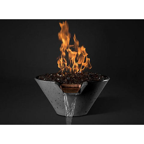 "Image of Slick Rock Concrete 22"" Cascade Conical Fire On Glass + Stainless Steel Spillway with Electronic Ignition KCC22CPSCSSEING"