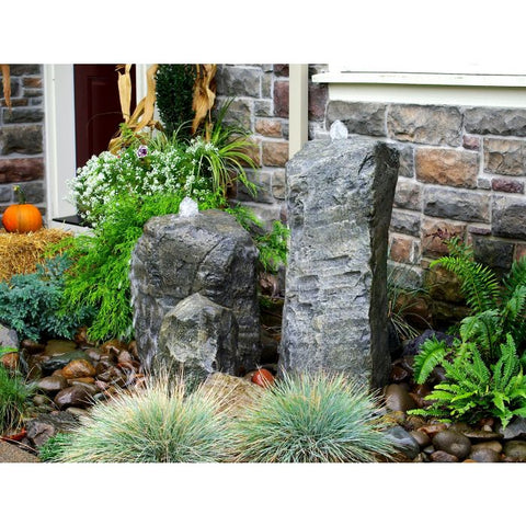 Blue Thumb Double Cascade Fountain with Accent Rock LA6150K - ProYardSupply