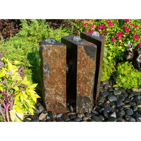 Blue Thumb Basalt Fountain Kit - 24″ Triple Split Polished 3 Piece ABBC915 - ProYardSupply