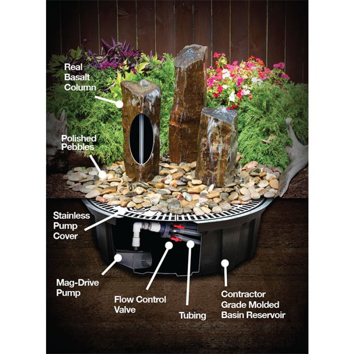 Blue Thumb Fountain Kit - 18″ Small Basalt ABBC118 - ProYardSupply