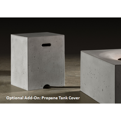 "Slick Rock Concrete 29"" Cascade Square Fire On Glass + Stainless Steel Spillway with Match Ignition KCC29SPSCSSMNG"