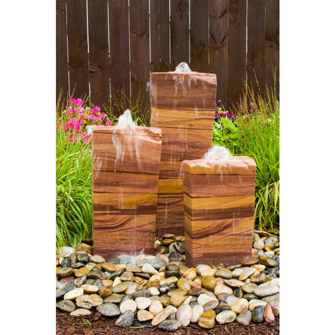 Image of Blue Thumb Triple Salt River Sandstone Fountain Kit ABSRS100 - ProYardSupply
