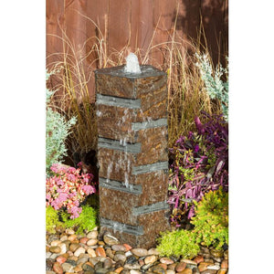 Blue Thumb Basalt Fountain Kit - Carved Stripe ABBC920 - ProYardSupply