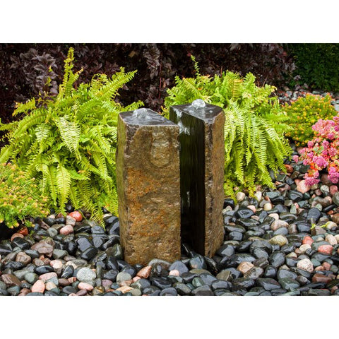 Image of Blue Thumb Basalt Fountain Kit - 24″ Double Split Polished 2 Piece ABBC910 - ProYardSupply