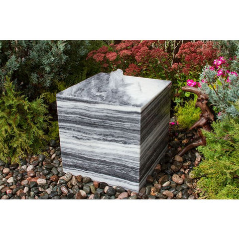Image of Blue Thumb 16″ White Gray Cube Fountain ABART16W - ProYardSupply