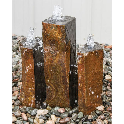 Image of Blue Thumb Basalt Fountain Kit - Trinity Split Polished 3 Piece ABBC940 - ProYardSupply