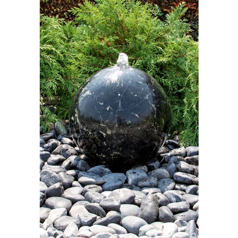 Blue Thumb 16″ Black Flower Granite Sphere Fountain ABART4216 - ProYardSupply