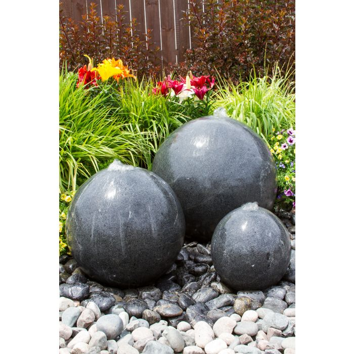Blue Thumb Triple Black Granite Sphere Fountain ABGSB3T - ProYardSupply