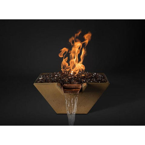 "Slick Rock Concrete 22"" Cascade Square Fire On Glass + Stainless Steel Spillway with Electronic Ignition KCC22SPSCSSEING"